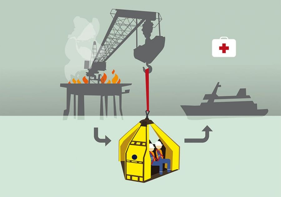 An illustration of a Reflex Marine device being used in an emergency marine transfer.