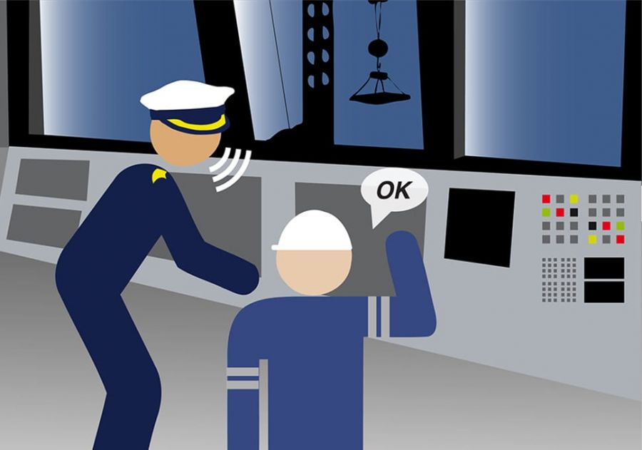 An illustration of the captain of a vessel talking to a member of crew.