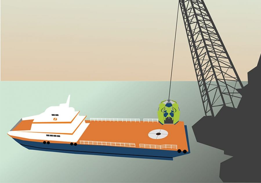 An illustration of a crane transferring a Reflex Marine device onto a ship.